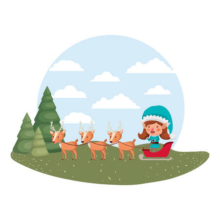 elf woman with sleigh and reindeer avatar chatacter vector illustration design