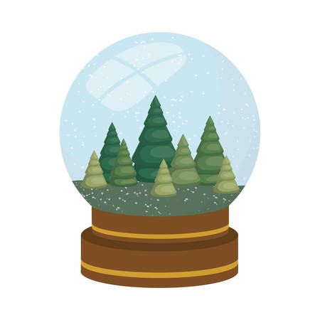 christmas tree in crystal ball isolated icon vector illustration design