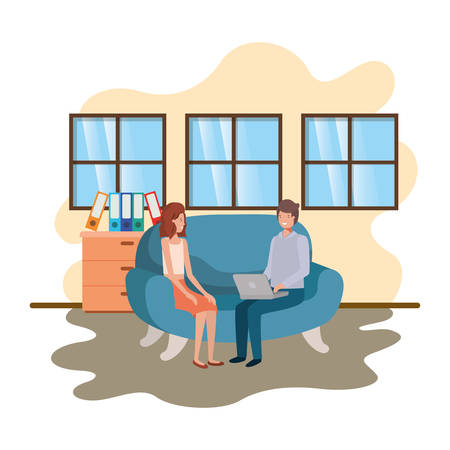 couple using laptop in office of work vector illustration desing
