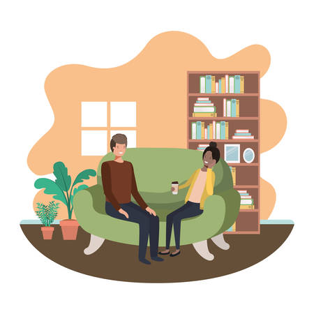 couple in living room drinking coffee vector illustration desing