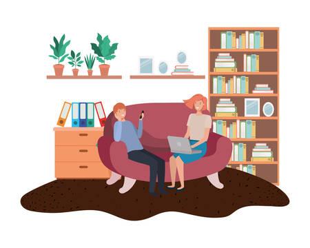 couple using laptop in the livingroom vector illustration desing