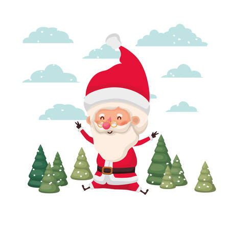santa claus moving in the snow avatar character vector illustration design