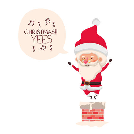 santa claus in fireplace avatar character vector illustration design Illustration