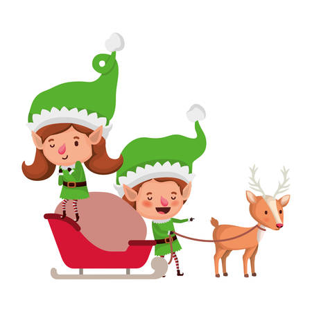elf couple with sleigh and reindeer avatar chatacter vector illustration design Vettoriali
