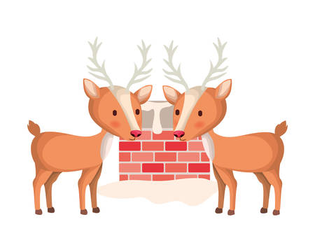 reindeer with fireplace isolated icon vector illustration design