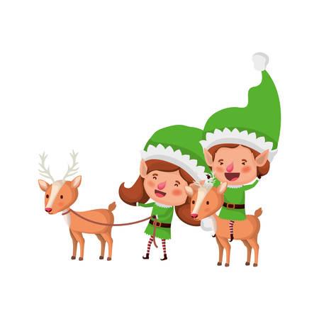 elf couple with reindeer avatar character vector illustration design Illustration