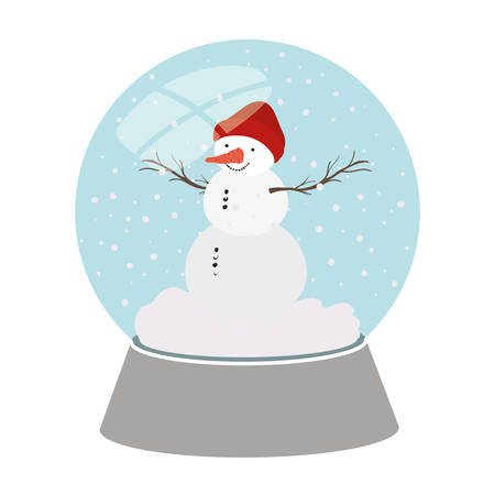 snow man in crystal ball isolated icon vector illustration design