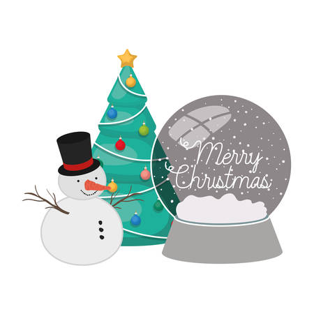 christmas tree in crystal ball with snow man vector illustration design