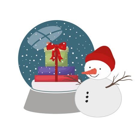 gift boxes in crystal ball and snow man isolated icon vector illustration design