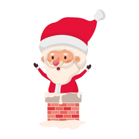 santa claus in fireplace avatar character vector illustration design Stock Photo