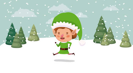 little christmas elf character in snowscape vector illustration design Illustration