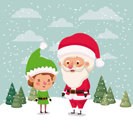 little elf and santa claus characters in snowscape vector illustration