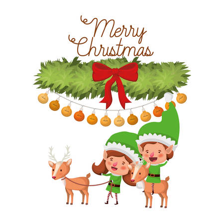 elf couple with reindeer and merry christmas time avatar character vector illustration design