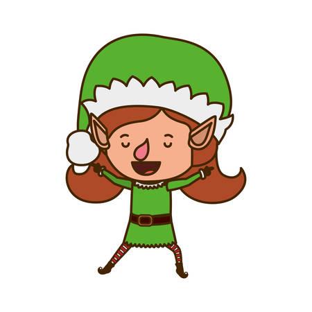 elf woman walking avatar character vector illustration design
