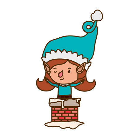 elf woman with fireplace avatar character vector illustration design