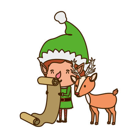 elf with reindeer avatar character vector illustration design