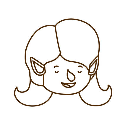 elf woman head avatar character vector illustration design