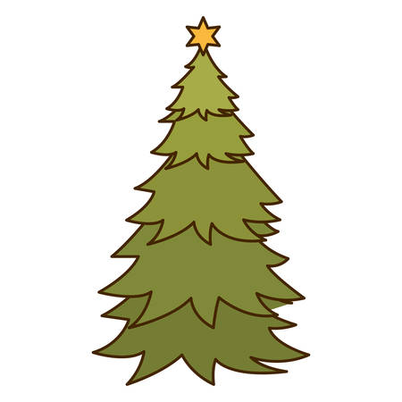 christmas tree with star isolated icon vector illustration design