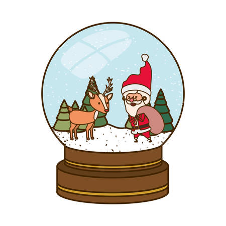 santa claus in crystal ball avatar character vector illustration design