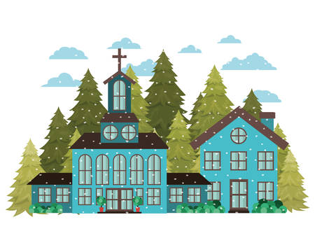 church in neighborhood with pines falling snow avatar character vector illustration design
