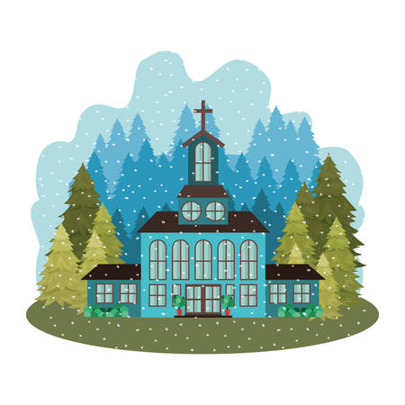 church with pines falling snow avatar character vector illustration design