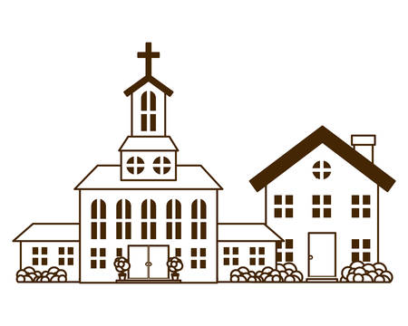 church in neighborhood isolated icon vector illustration design Illustration