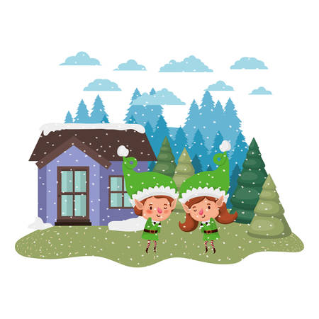 house with pine trees and falling snow couple of elves vector illustration design