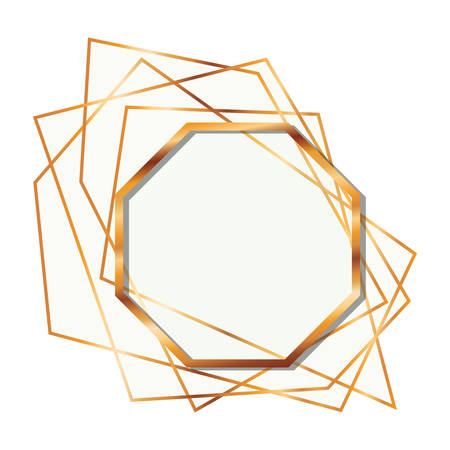 golden frame octagon isolated icon vector illustration design