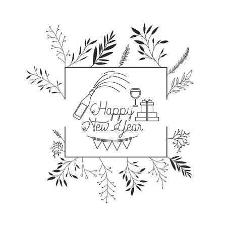 happy new year with elements decorative vector illustration desing