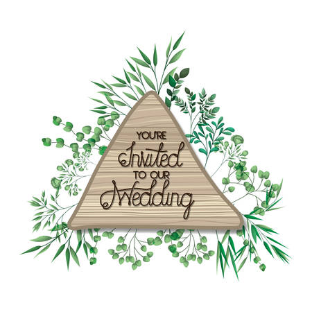 wedding invitation in frame of wooden vector illustration desing Ilustração