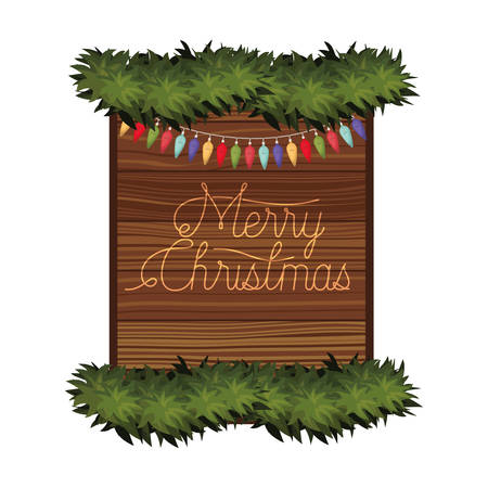merry christmas in frame of wooden icon vector illustration desing
