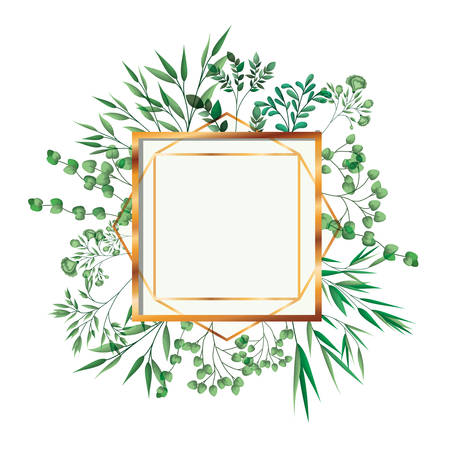 golden frame square with foliage isolated icon vector illustration desing
