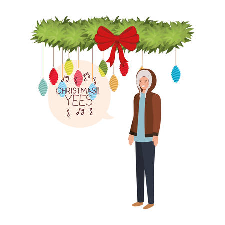 man with winter clothes and speech bubble vector illustration desing