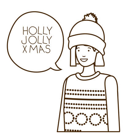 woman with winter clothes and speech bubble vector illustration desing