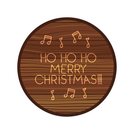 circle on wooden with christmas message vector illustration desing
