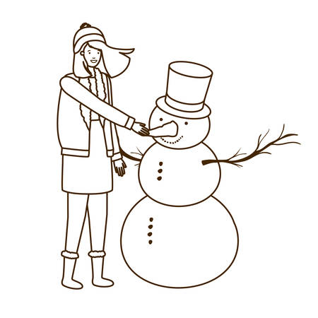 woman with snowman avatar character vector illustration desing