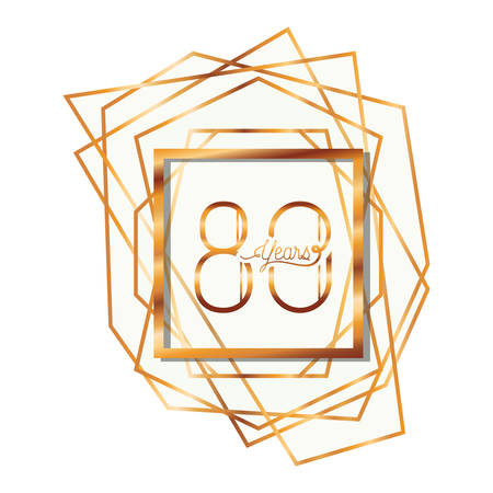 number 80 for anniversary celebration card icon vector illustration desing