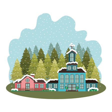 church in neighborhood with pines falling snow avatar character vector illustration design Stock Vector - 112806442