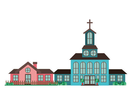 church in neighborhood isolated icon vector illustration design Stock Illustratie
