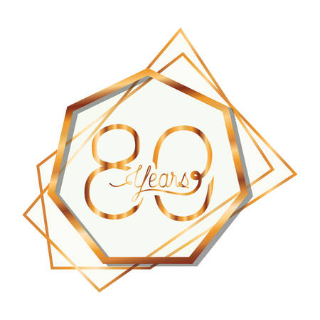 Número 80 para diseño de ilustración de vector de icono de tarjeta de celebración de aniversario