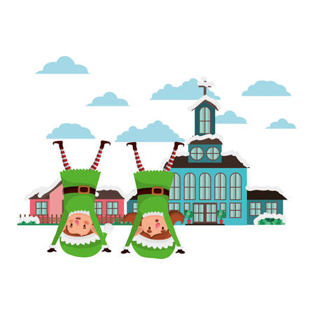 church in neighborhood and couple of elves vector illustration design