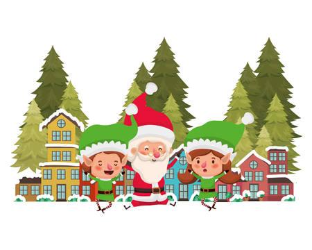 neighborhood and elf couple with santa claus vector illustration design Illustration