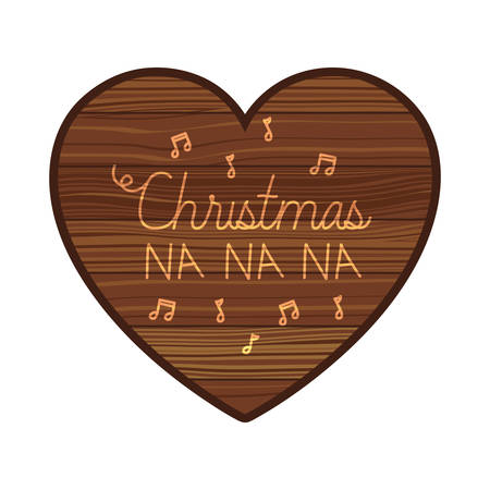 heart on wooden with christmas message vector illustration desing
