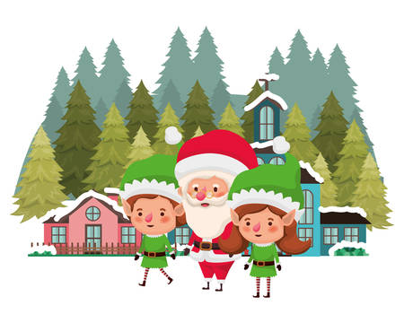 neighborhood and elf couple with santa claus vector illustration design Illustration