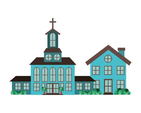church in neighborhood isolated icon vector illustration design Illustration