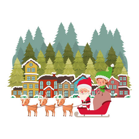 church in neighborhood and santa claus with reindeer vector illustration design