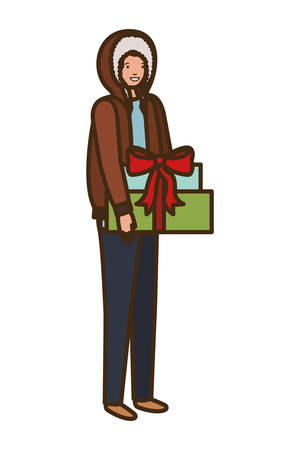 man with gift box avatar character vector illustration desing