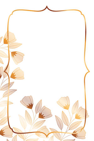 flowers with leaves and shield shape vector illustration design Ilustrace