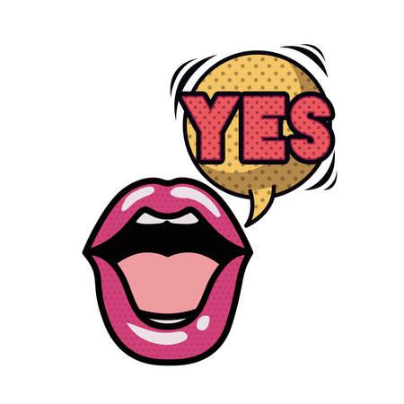 lips saying yes avatar character vector illustration design Stock Illustratie