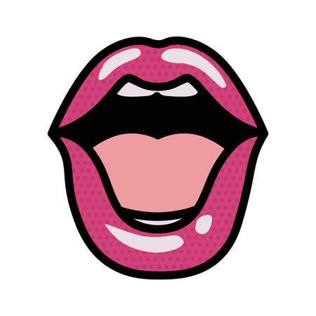 open lips avatar character vector illustration design